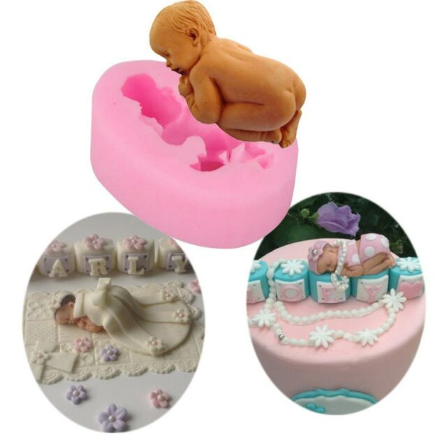 3D Birthday Baby Silicone Fondant Cake Sugarcraft Decorating Cutter Mould Tools