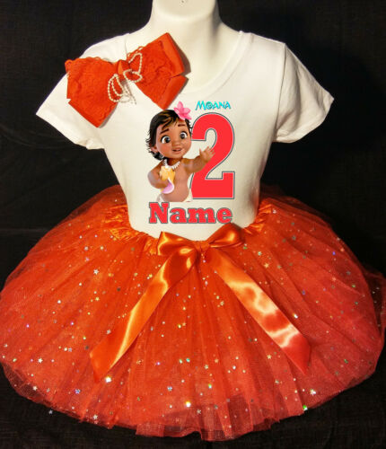 Moana Baby **With NAME** 2nd second 2 Birthday Red Tutu dress Fast Shipping