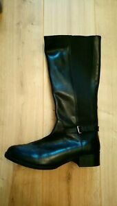 Sole Black Leather Calf Length Boots   eBay