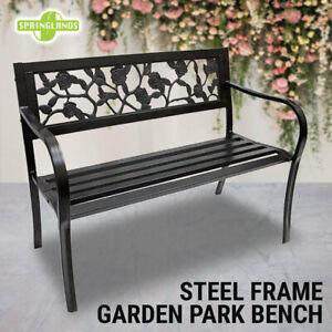 Steel Park Bench Rose Pattern Outdoor Garden Bench Patio Chair Seat