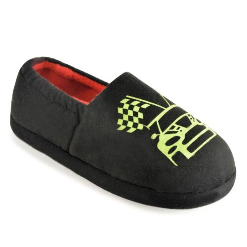 Boys Super Cosy Racing Car Glow In The Dark Elasticated Closed Back Slippers