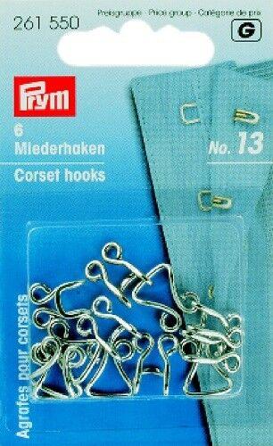 Prym 6 Bra Hook And Eyes Large Nr.13 Silver Color 261550