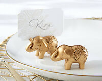 48 Gold Indian Asian Lucky Elephant Bridal Wedding Place Card Holder Favor