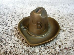 9a0031f27cd Vintage LBJ Lyndon B Johnson Cowboy Hat Lighter Stand  Match Holder ...