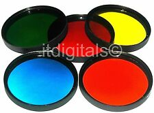 58mm Set of 5 Red Yellow Green Blue Orange Lens Filter Color B&W Film Digital