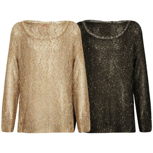Haut Fille Mailles Pull Seethrough Netted Sequin or or noir 7-13 ans