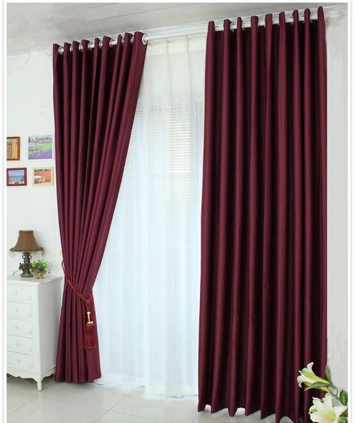 2 X Blockout Cortinas Pure Tela negroout habitación Rojo Borgoña 300cm X 230cm Par