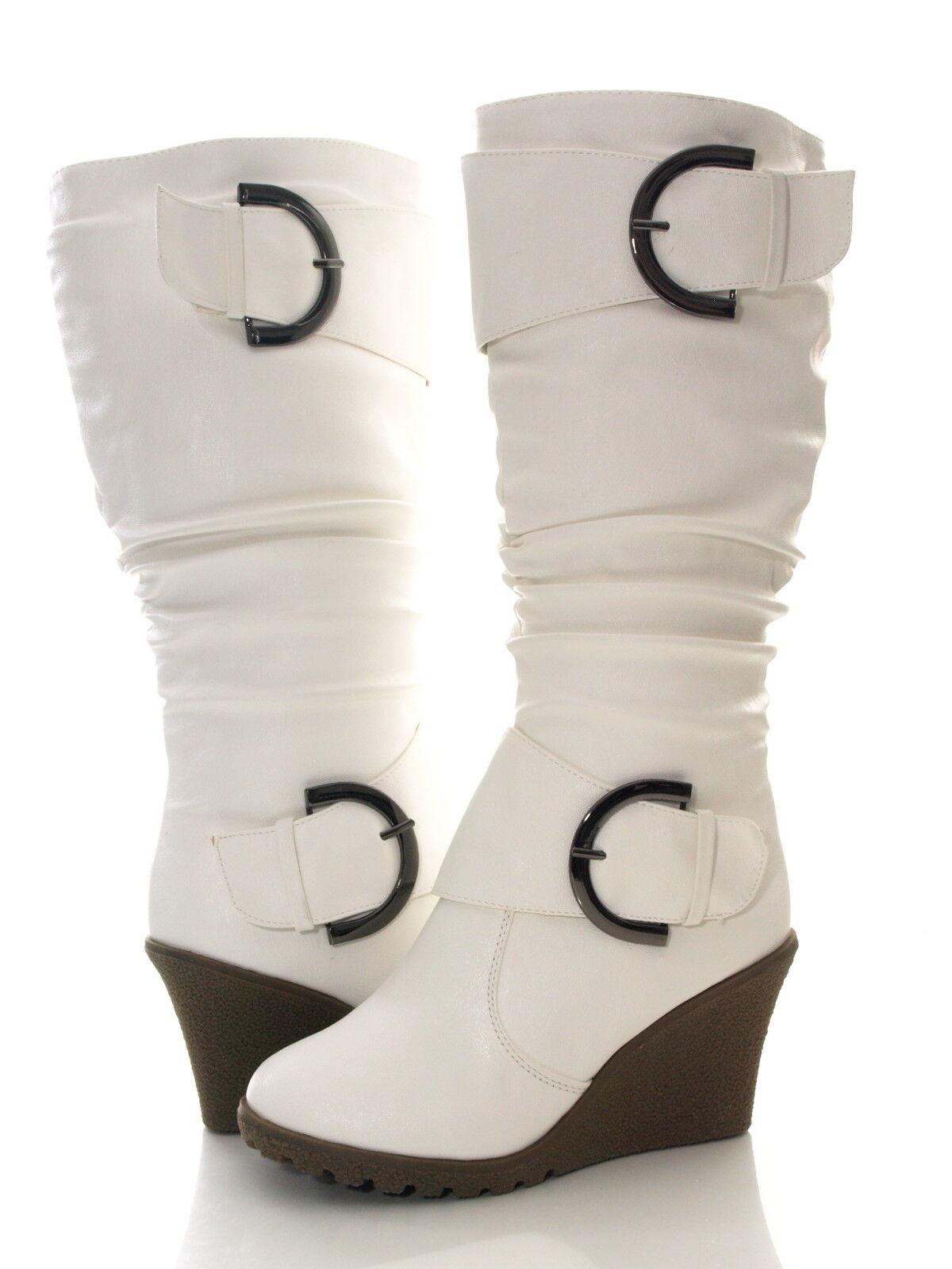 Damen Keilabsatz Winter Stiefel warm gefüttert Weiß # 2013