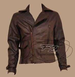 f27777ebc2c Image is loading First-Avenger-Captain-America-Brown-Biker-Real-Leather-