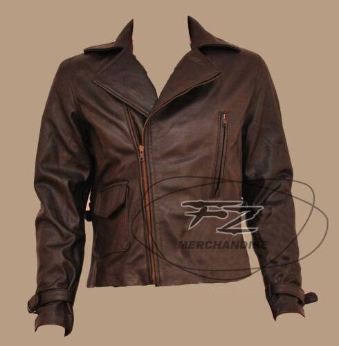 First Avenger Captain America Brown Biker Real Leather Jacket Chris Evans