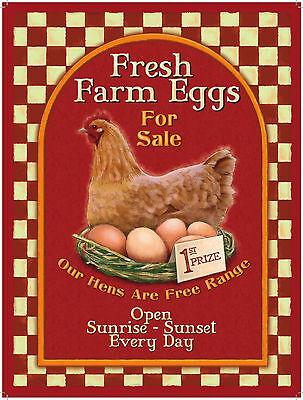 FRESH FARM EGGS FOR SALE plaque metal 200mm X 150mm