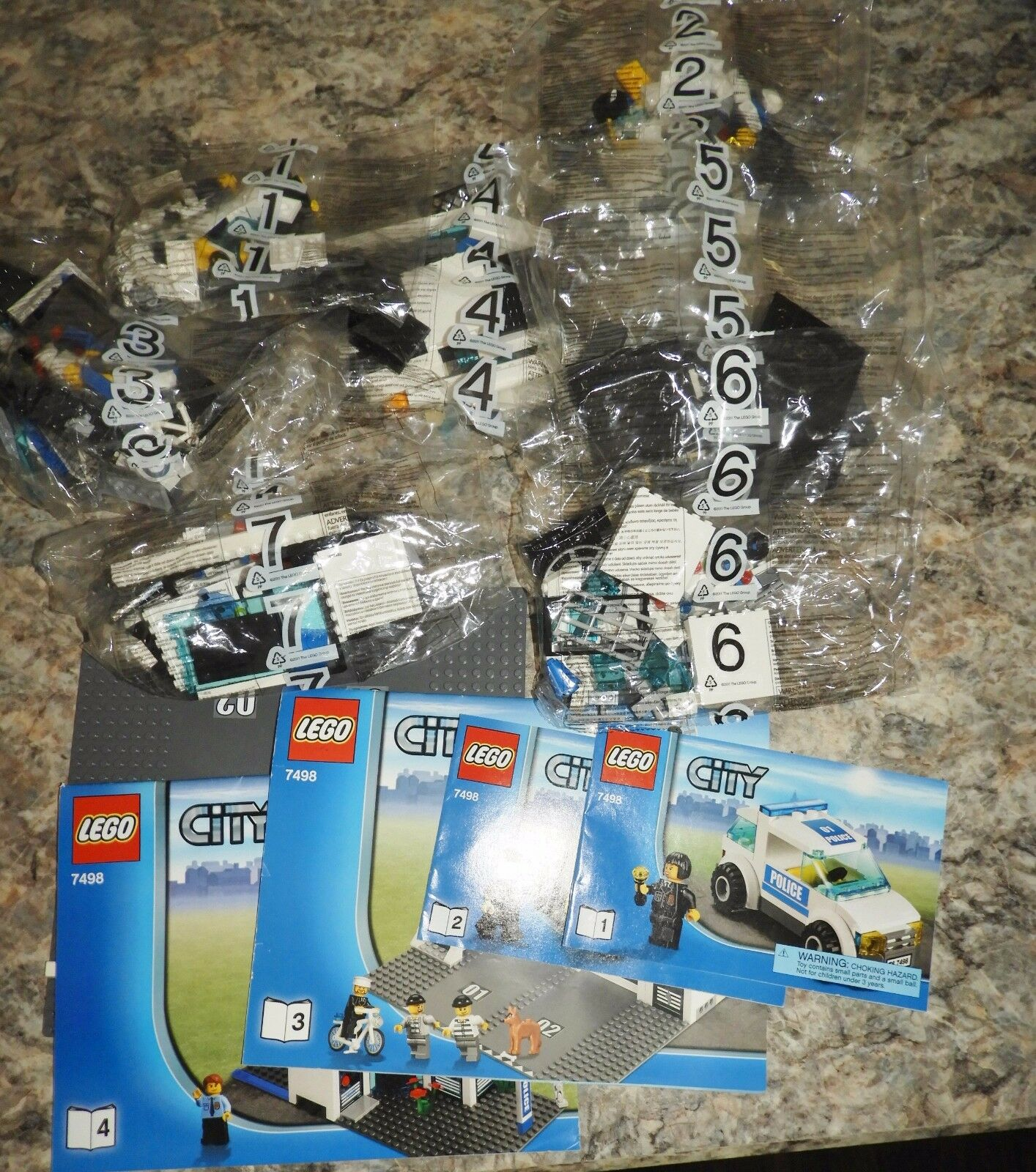 Lego 7498 Police Station New Bags 1-7 Instructions & Base Plate As Shown