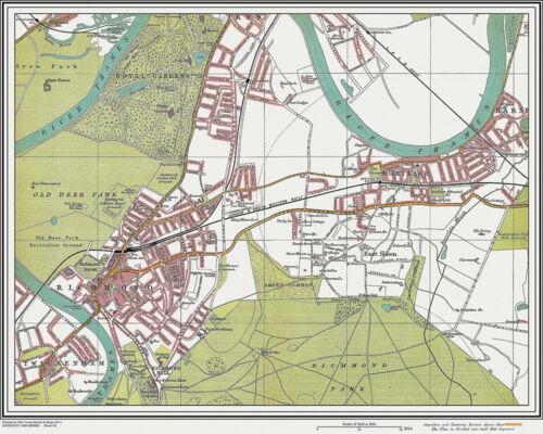 vintage #20 Mortlake Map London 1908 old Richmond