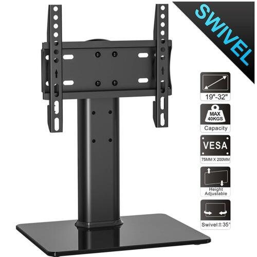 70 Degree Swivel Universal Tabletop TV Duty Glass Stand for 19 to 32 inch TV