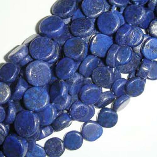 Pcs Dyed  Handcut Gemstones Crafts Lapis Lazuli Plain Coin Beads 6-7mm Blue 48