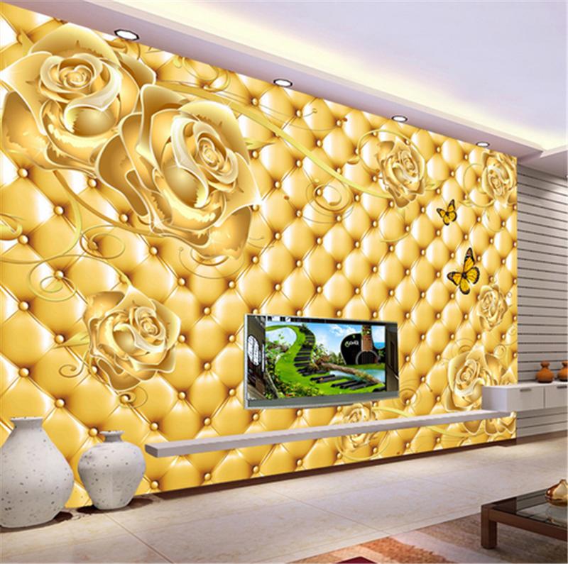 3D Golden Flower Butterfly9 Wallpaper Mural Paper Wall Print Wallpaper Murals UK