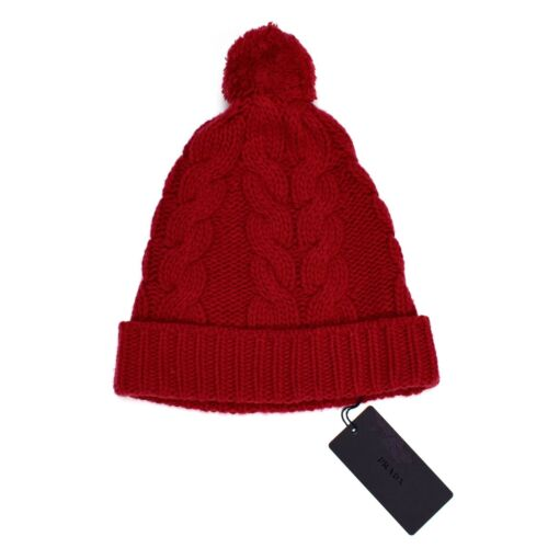 NWT  245 PRADA Men s Cranberry Red 100% Wool Cable Knit Beanie Ski ... 015a3541453