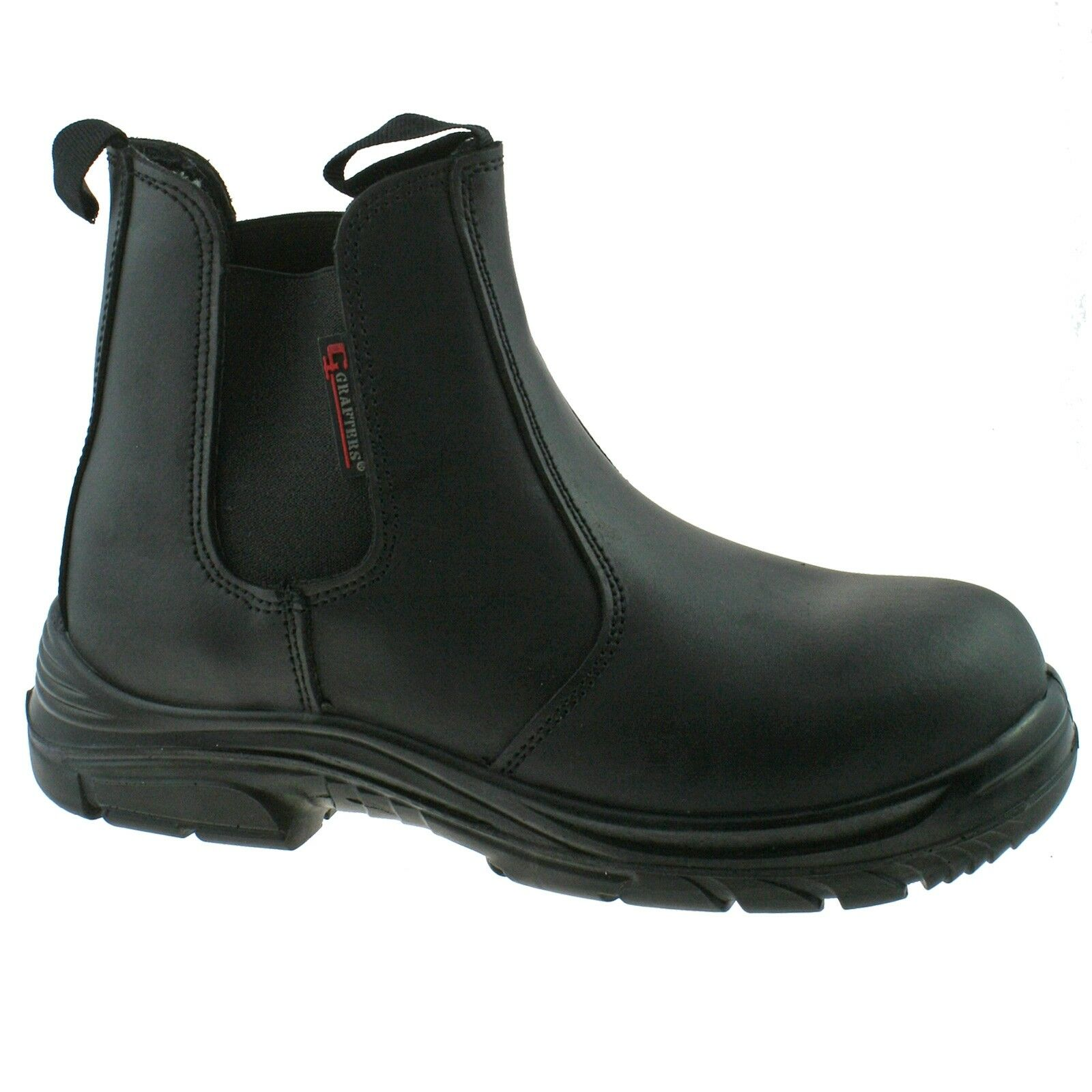 MENS FITTING GRAFTERS BLACK LEATHER WIDE FITTING MENS SAFETY DEALER BOOTS SIZE 6–13 M9502A KD bcf2a4
