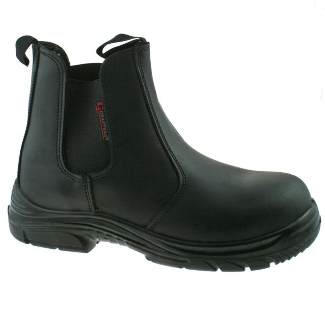 d9167463b090 MENS GRAFTERS BLACK LEATHER WIDE FITTING SAFETY DEALER BOOTS SIZE 6–13  M9502A KD