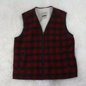 032e1a27cb413 L L Bean Men Red Black Buffalo Plaid Wool Hunting Sherpa Fleece Vest ...