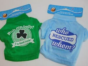 Puppy-Dog-T-Shirts-TWO-Very-Small-Who-Rescued-Whom-amp-I-039-m-Good-Luck-Size-Small