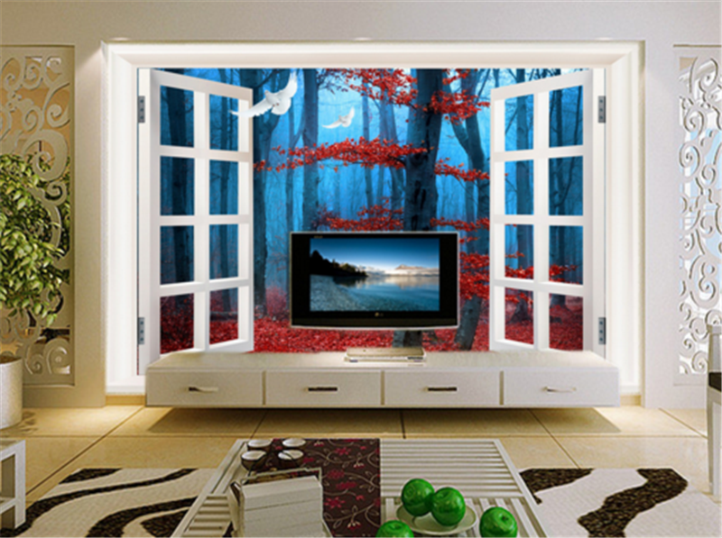 3D Window Tree Leaves 523 Wallpaper Mural Paper Wall Print Wallpaper Murals UK