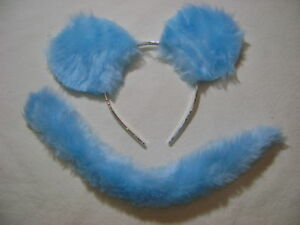 The Cheshire Cat Fancy Dress Ears And Tail Turquoise /& Light Blue Fur Long Tail