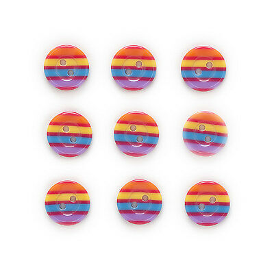 30pcs Rainbow Resin Buttons Sewing Scrapbooking Gift Home Clothing Decor 13mm