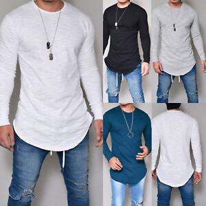 Herren-Langarm-T-Shirt-Longshirt-Pullover-Hemd-Slim-Fit-Freitzeitshirt-Tops-DE
