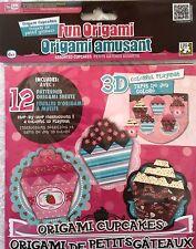 3-D Origami Cupcake Baking Dessert Paper Folding Craft Kit Patterns w/ Mat NIB