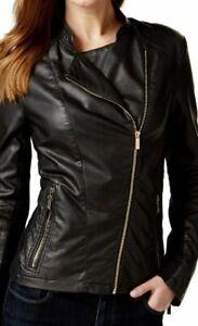 Xs Jakke Størrelse Motorcykel Women's Klein Faux Calvin Leather WBUHUq
