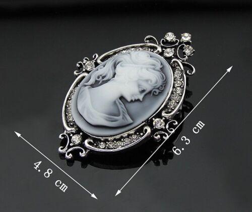 Retro Beauty Cameo Femmes Lady Résine Cristal Pendantes Pendentif Broche Bijoux Cadeau