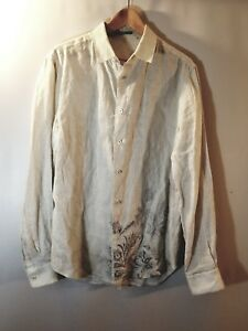 a43693d7b6 Elie Tahari Men s Shirt 100% Linen Stripes Paisley Detail Button Up ...