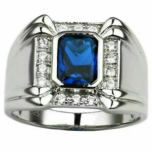Natural Sapphire Gemstone With 925 Sterling Silver Ring For Men's #80
