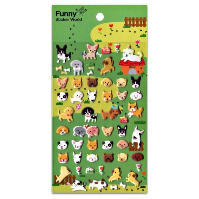 Cute Dog Stickers Sheet Puppy Animal Raised Puffy Vinyl Craft