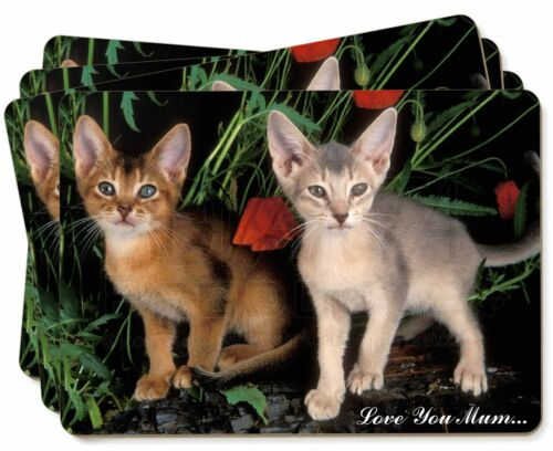 Abyssinian Cats 'Love You Mum' Picture Placemats in Gift Box, AC42lymP
