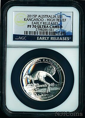 OGP 2017 P Australia HIGH RELIEF 1oz Silver Kangaroo $1 Coin NGC PF70 UC ER