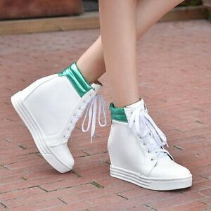 Womens-Hidden-Wedge-Heel-Lace-Up-Sneakers-High-Top-Ankle-Boots-Casual-Shoes-New