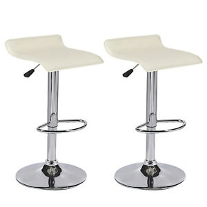 Set of 2 Cream Swivel Seat Counter Height Chrome Base Bar Stools Dinning Chairs