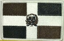 DOMINICANA Flag Patch With VELCRO® Brand Fastener Black, Brown & White #9