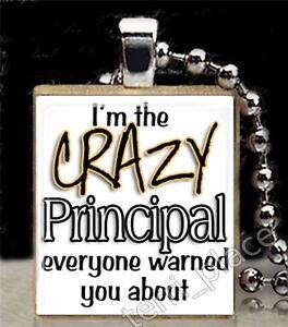 Details About Crazy Principal Scrabble Tile Pendant For Necklace School Teacher Fun Gift Ideas