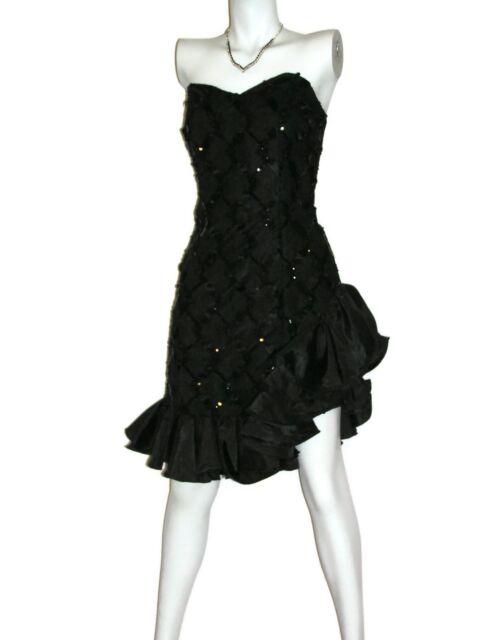 Vtg Womens Sz ? Dress Black Lace Salsa Sequins Ribbons Satin Ruffle Strapless