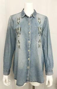 Zara-Trafaluc-Chambray-Blue-Shirt-Embroidered-Button-Front-Long-Sleeve-Medium