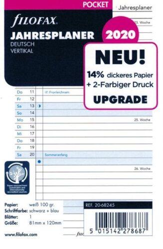 Filofax Kalendereinlage Pocket Jahresplan 2020 deutsch vertikal