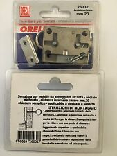 serratura per mobili armadi mm.20 con chiave semplice in acciaio nichelato