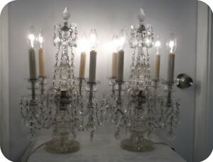 Details About Antique Cut Crystal Chandelier 4 Lite Table Mantle Lamps Pair Made In Czech