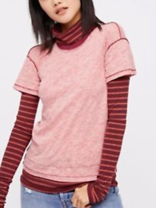 Details about  /FREE PEOPLE Women We The Free Piper Twofer Top Tee Stripe Layered Red Combo XS,S
