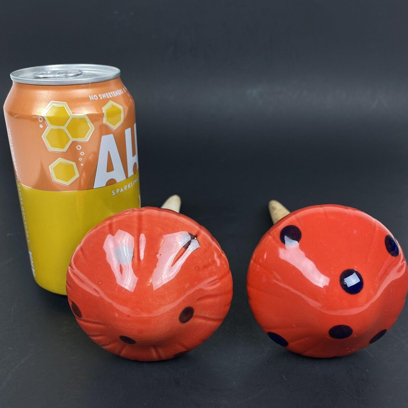 Set of 2 Ceramic Glazed Red Polka Dot Mushroom Plant Water Feeder Watering Spike