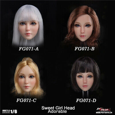 "Fire Girl Toys 1//6 FG071 Sweet Girl Head Sculpture F 12/"" Pale Figure Body Dolls"