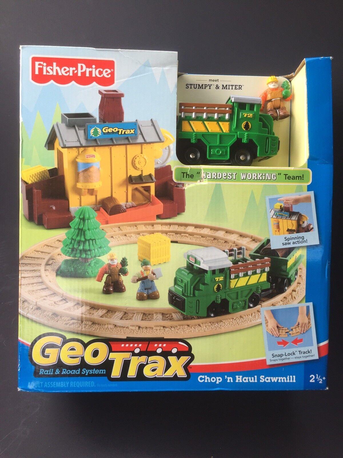 Fisher Price Geo Trax Train Chop N Haul Sawmill Set L3135 Stumpy Miter Team RARE